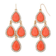 Decree® Orange Teardrop Gold-Tone Drop Earrings