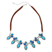 Decree® Silver-Tone Blue Stone Collar Necklace
