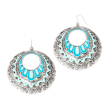 jcpenney.com | Decree® Blue Silver-Tone Circle Stamp Drop Earrings