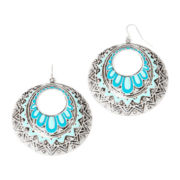 Decree® Blue Silver-Tone Circle Stamp Drop Earrings