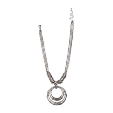 jcpenney.com | Mixit™ Silver-Tone Hammered Double-Circle Pendant Necklace