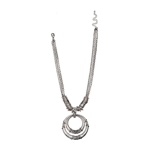 Mixit™ Silver-Tone Hammered Double-Circle Pendant Necklace