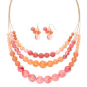 Mixit™ Pink and Peach Beaded Necklace and Earrings Set