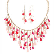 Mixit™ Pink and Red Shakey Necklace and Earrings Set