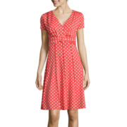 Perceptions Short-Sleeve Polka Dot A-Line Dress
