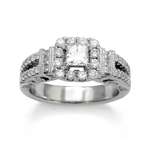 LIMITED QUANTITIES 1? CT. T.W. Diamond 14K White Gold Engagement Ring