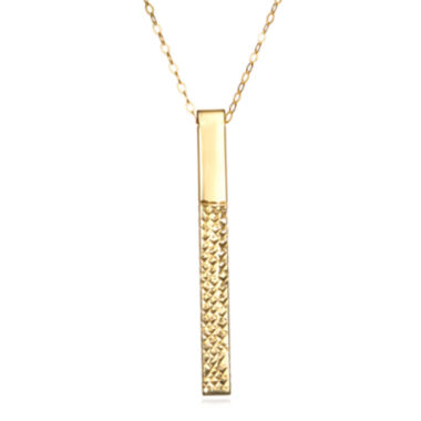 jcpenney.com | 14K Yellow Gold Diamond-Cut Stick Pendant Necklace