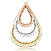 10K Tricolor Gold Pear Shaped Pendant Necklace