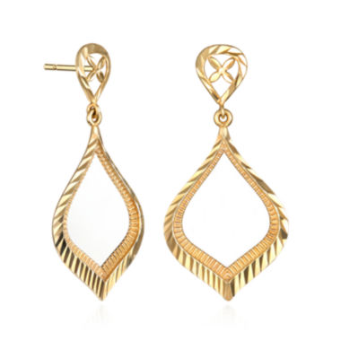 jcpenney.com | 14K Yellow Gold Diamond-Cut Teardrop Earrings