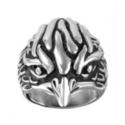 Mens Two-Tone Stainless Steel Eagle Ring