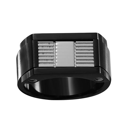 Mens Stainless Steel and Black IP Ring