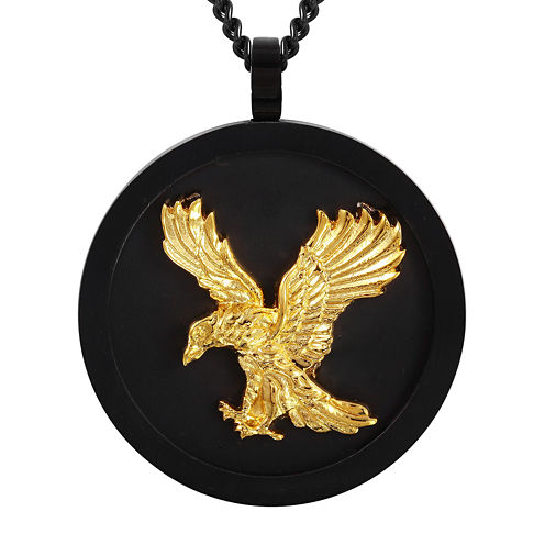 Mens Stainless Steel with Black and Gold IP Eagle Pendant Necklace