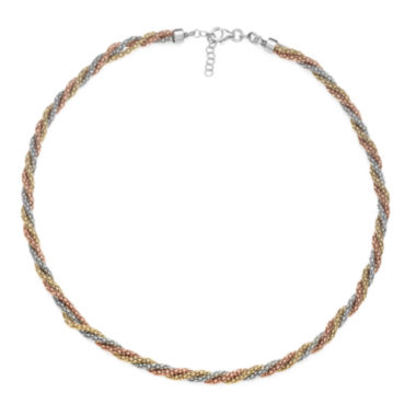 jcpenney.com | 14K Gold Over Sterling Silver Tricolor Twisted Popcorn Necklace