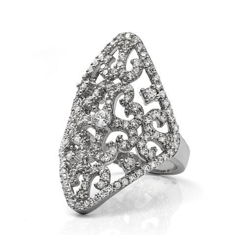 Cubic Zirconia Sterling Silver Filigree Ring