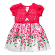 Youngland® Floral Dress with Lace Cardigan - Toddler Girls 2t-4t