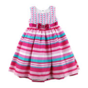 Nannette Polka Dot & Striped Shantung Dress - Toddler Girls 2t-4t