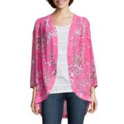 St. John's Bay® 3/4 Sleeve Kimono Flyaway