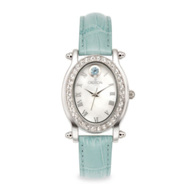 jcpenney.com | Croton Womens December Birthstone Crystal-Accent Blue Leather Strap Watch