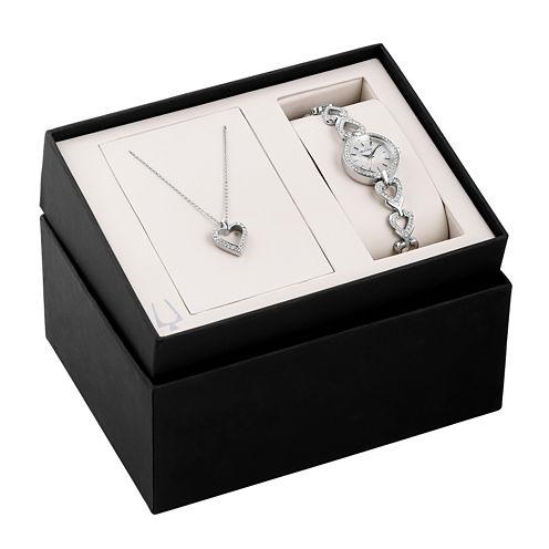 Bulova® Womens Silver-Tone Watch and Pendant Necklace Heart Box Set 96X136