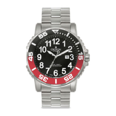 jcpenney.com | Croton Mens Black and Red Stainless Steel Strap Watch