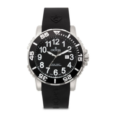 jcpenney.com | Croton Mens Black Rubber Strap Watch