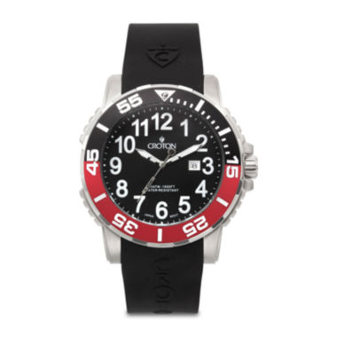 jcpenney.com | Croton Mens Red and Black Rubber Strap Sport Watch
