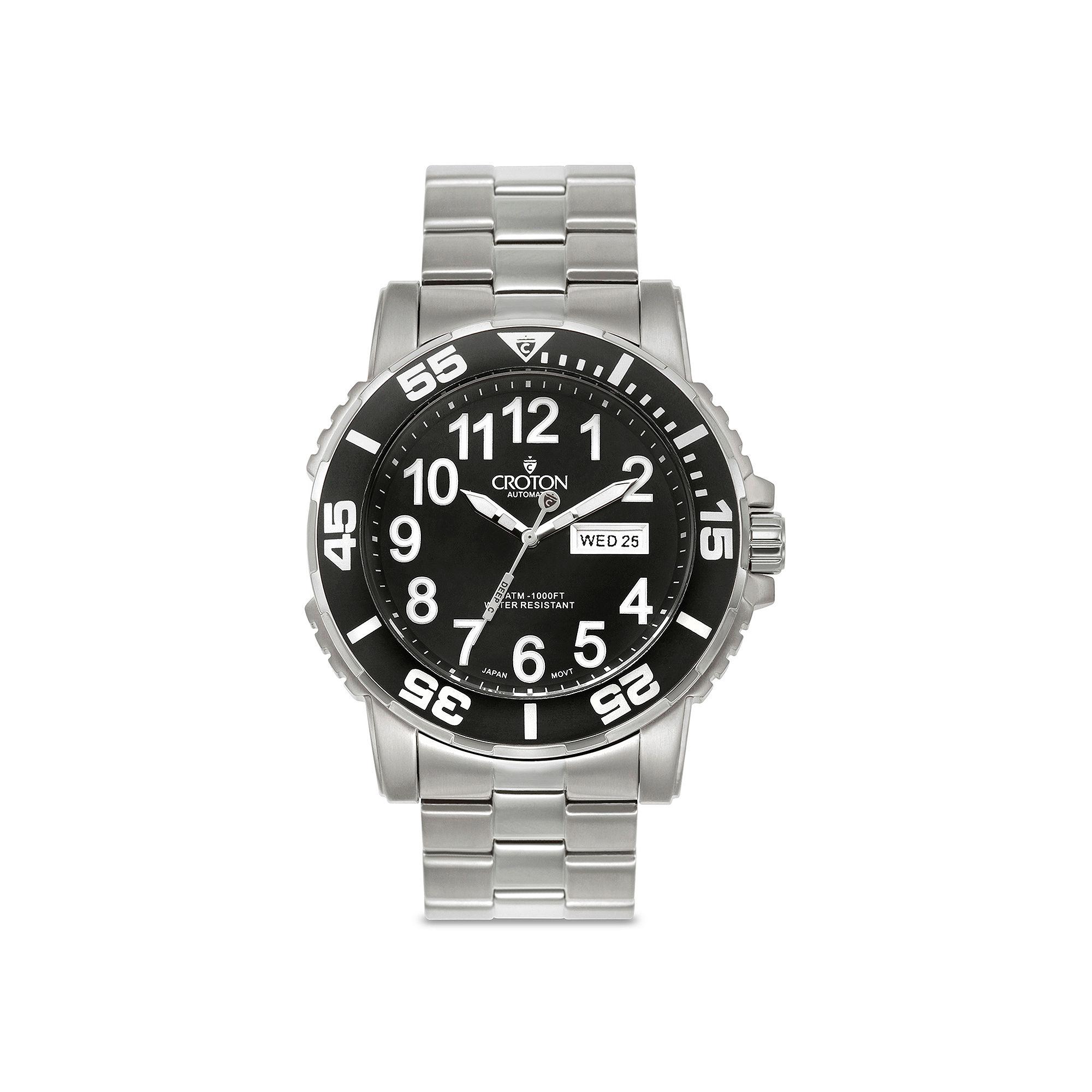 Croton Mens Black Stainless Steel Sport Watch