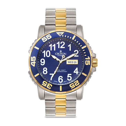 Croton Mens Blue Dial Two-Tone Watch