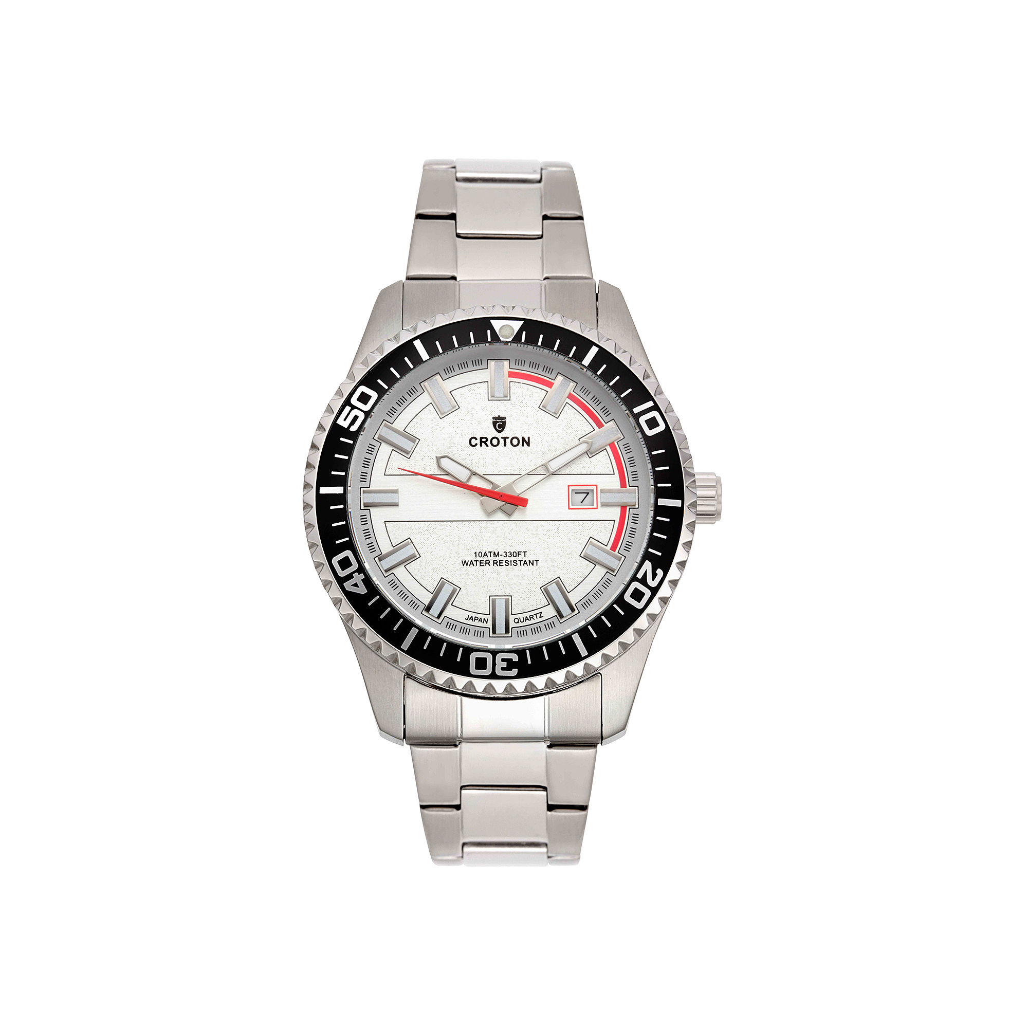 Croton Mens Silver-Tone Dial Stainless Steel Watch
