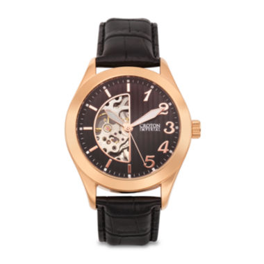 jcpenney.com | Croton Mens Rose-Tone and Black Leather Strap Skeleton Watch