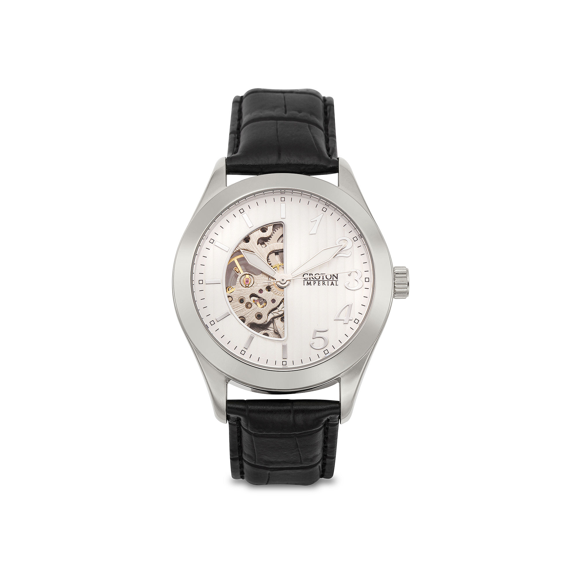 Croton Mens Black Leather Strap Skeleton Watch