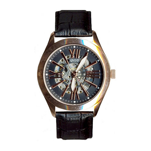 Croton Mens Rose-Tone and Black Leather Strap Skeleton Watch