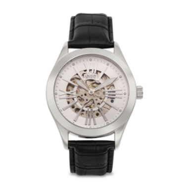 jcpenney.com | Croton Mens Silver-Tone Black Leather Strap Skeleton Watch