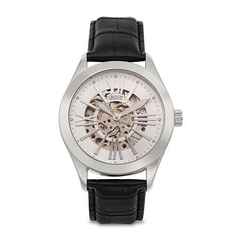 Croton Mens Silver-Tone Black Leather Strap Skeleton Watch