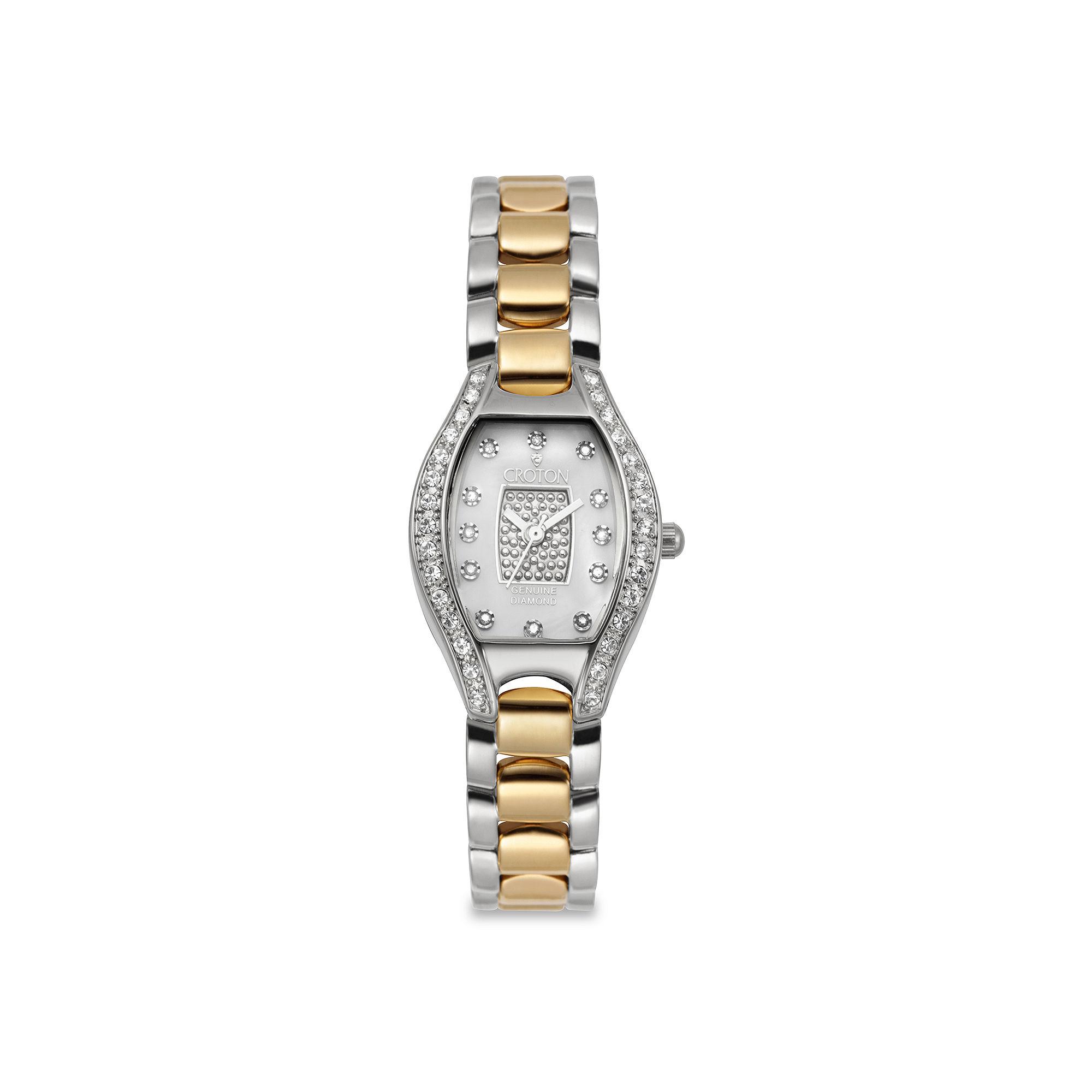 Croton Womens Diamond Accent Two-Tone Watch