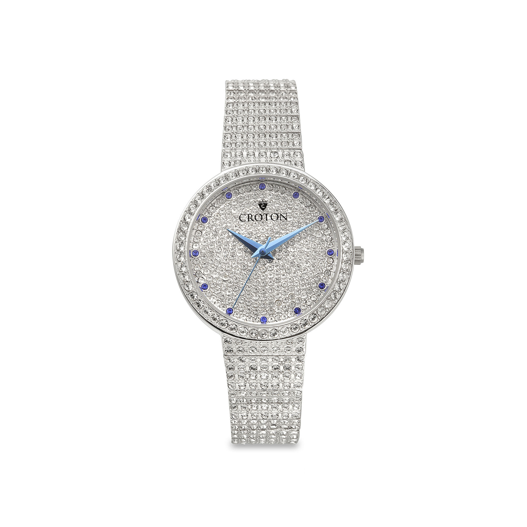 Croton Womens Crystal Silver-Tone Watch