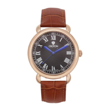 jcpenney.com | Croton Mens Rose-Tone Stainless Steel Brown Leather Strap Watch