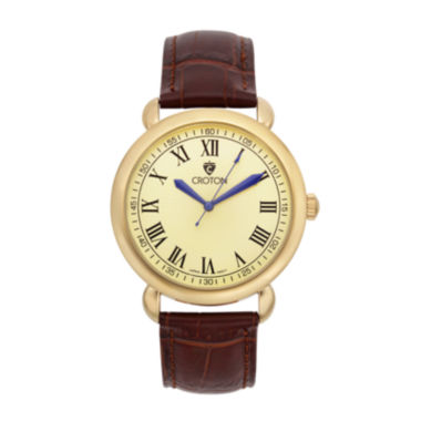 jcpenney.com | Croton Mens Gold-Tone Stainless Steel Brown Leather Strap Watch