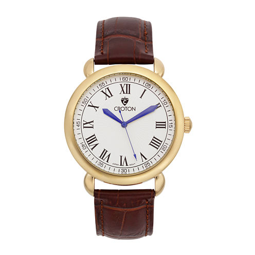 Croton Mens Gold-Tone Stainless Steel Brown Leather Strap Watch