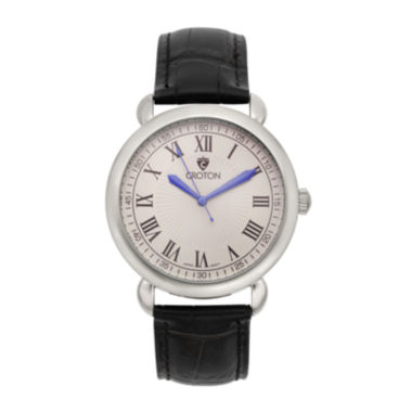 jcpenney.com | Croton Mens Silver-Tone Stainless Steel Black Leather Strap Watch
