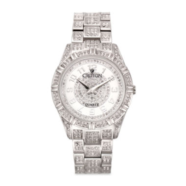 jcpenney.com | Croton Mens Silver-Tone Crystal Bracelet Watch