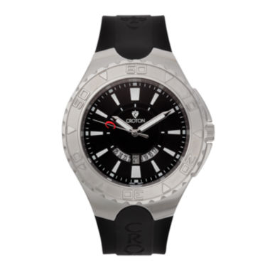 jcpenney.com | Croton Mens Black and White Stainless Steel Watch