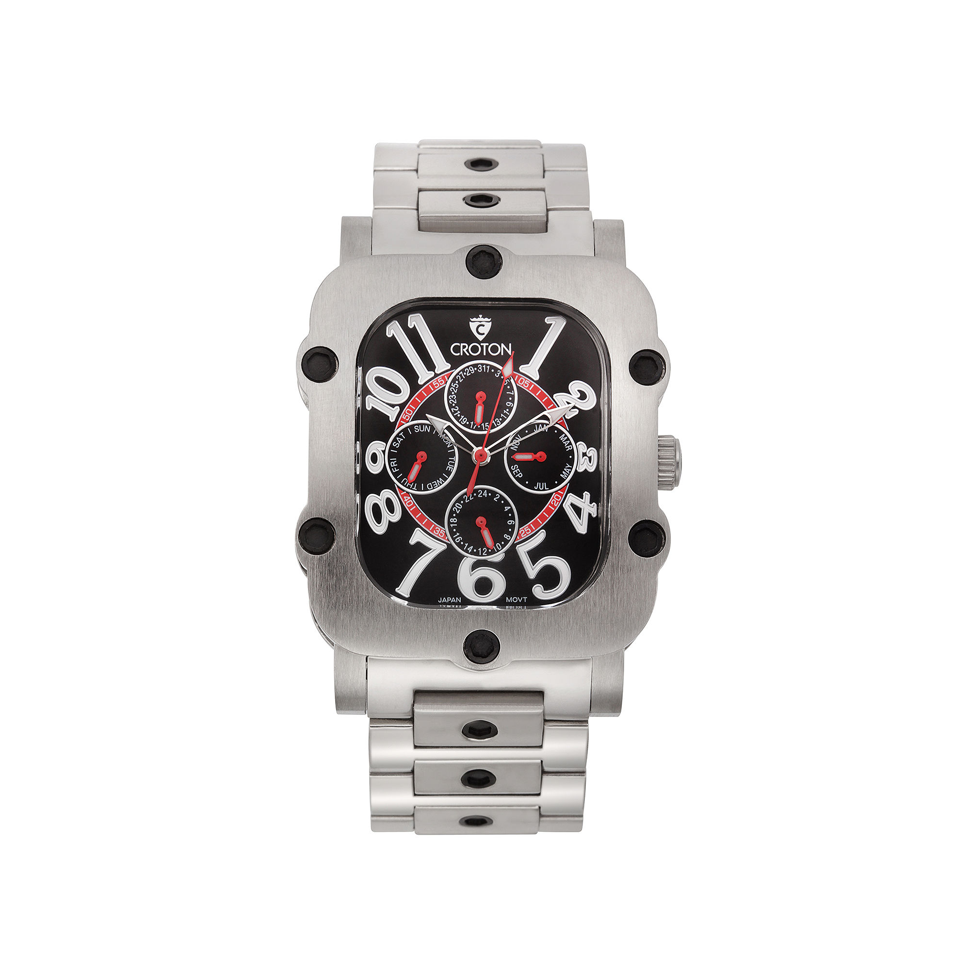 Croton Mens Black Dial Stainless Steel Watch