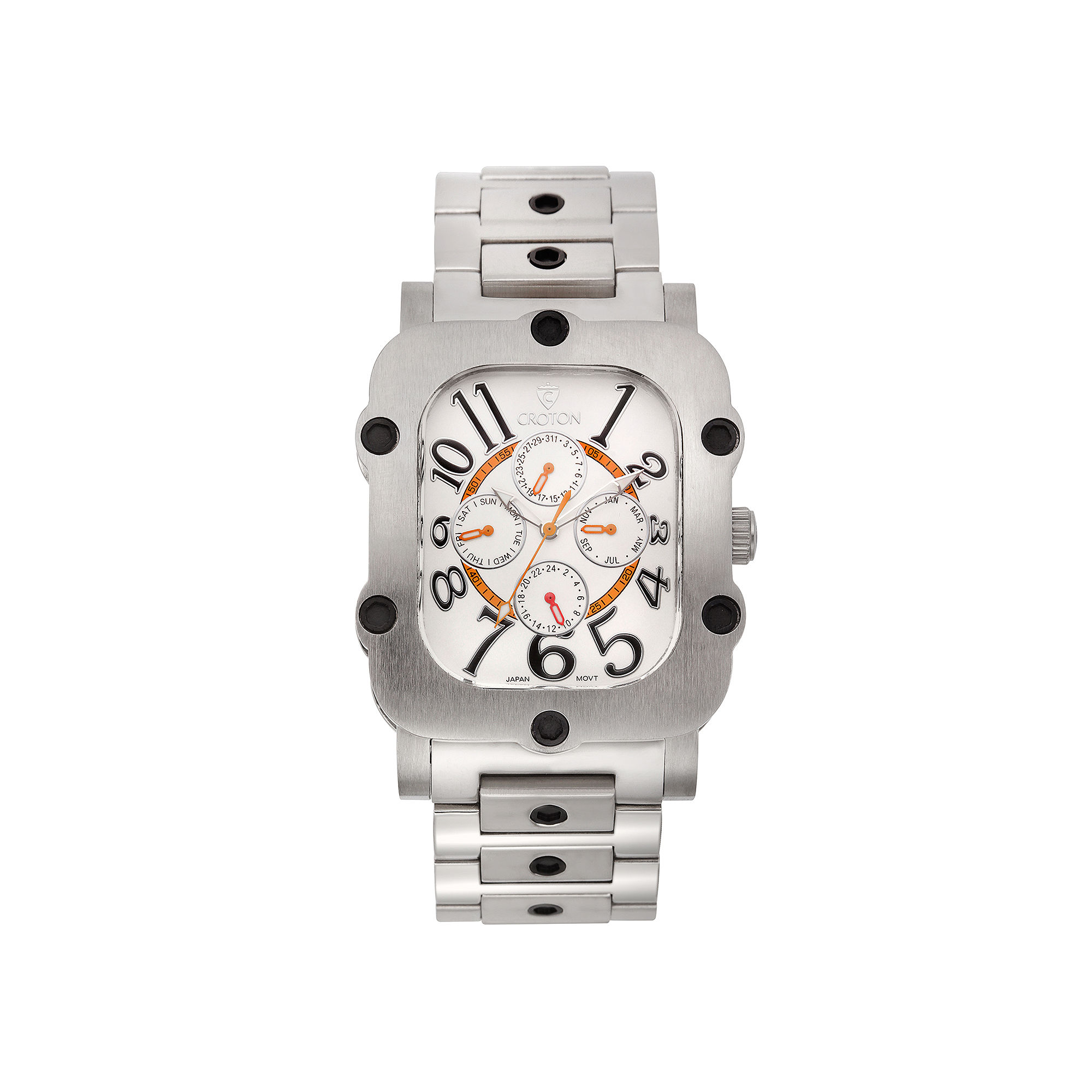 Croton Mens Silver-Tone Dial and Stainless Steel Watch