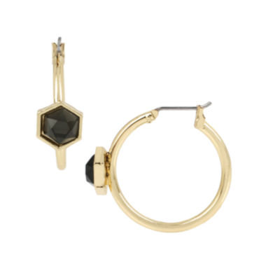 jcpenney.com | Worthington® Black Faceted Stone Gold-Tone Small Hoop Earrings