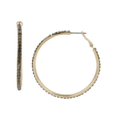 jcpenney.com | Worthington® Pave Black Stone Gold-Tone Hoop Earrings