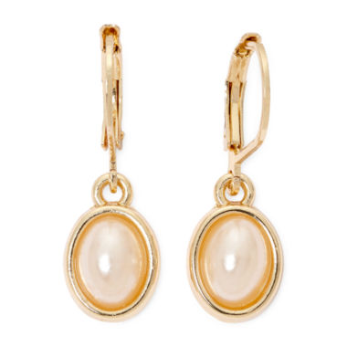 jcpenney.com | Vieste® Simulated Pearl Gold-Tone Leverback Earrings