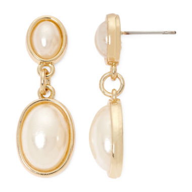 jcpenney.com | Vieste® Framed Simulated Pearl Silver-Tone Drop Earrings