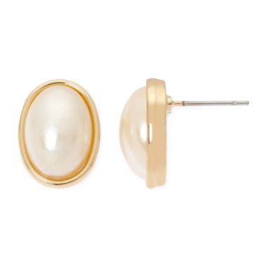 jcpenney.com | Vieste® Simulated Pearl Gold-Tone Stud Earrings
