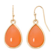 Liz Claiborne® Gold-Tone Orange Drop Earrings